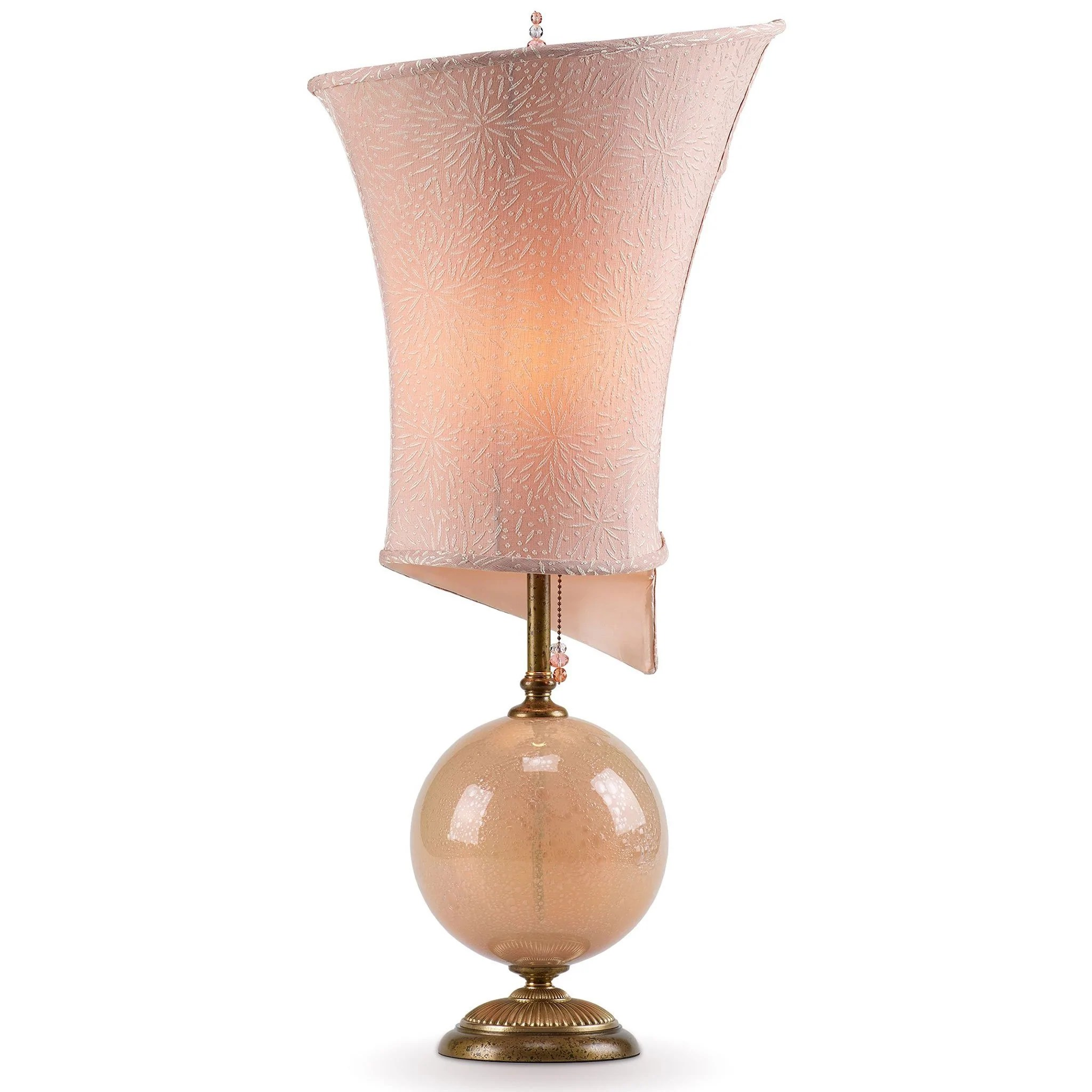 Kinzig Design Celia Table Lamp Cream Blown Glass Base With Linen Shade Sweetheart Gallery Contemporary Craft Gallery Fine American Craft Art Design Handmade Home Personal Accessories