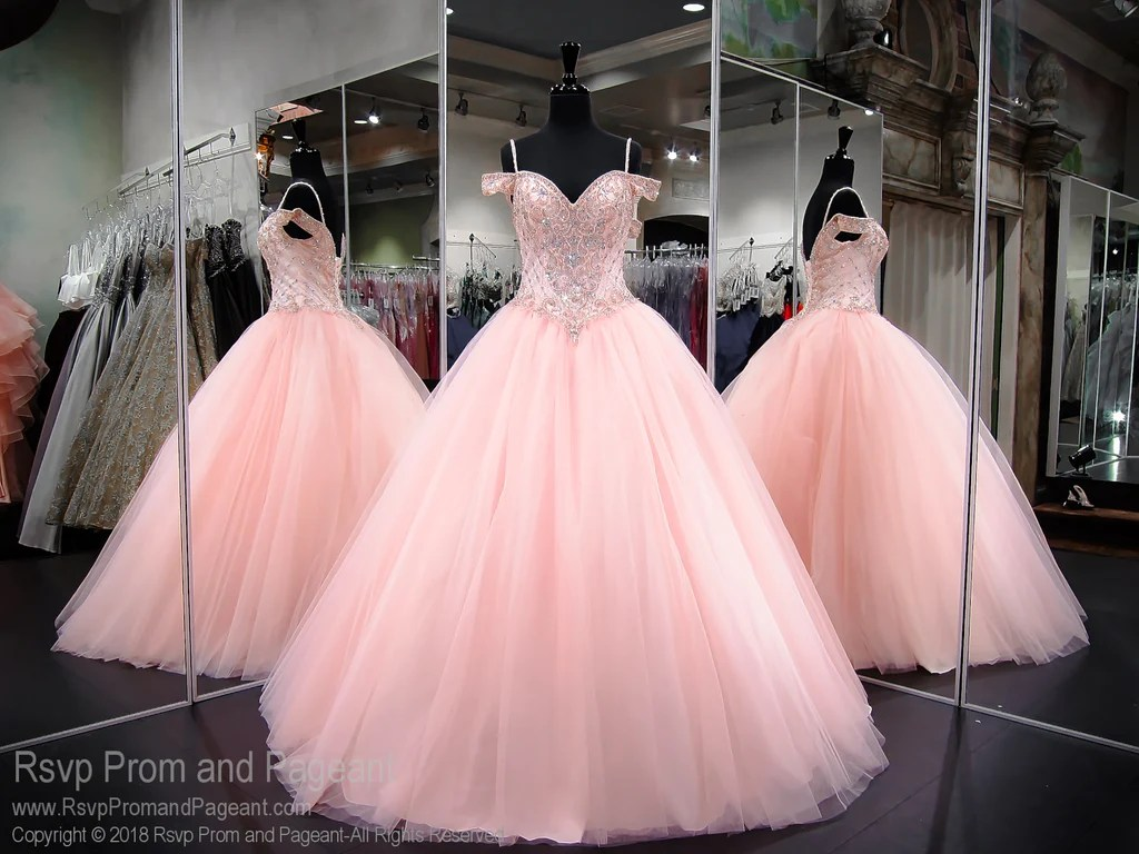 Pink Lace Up Ball Gown Prom Dress