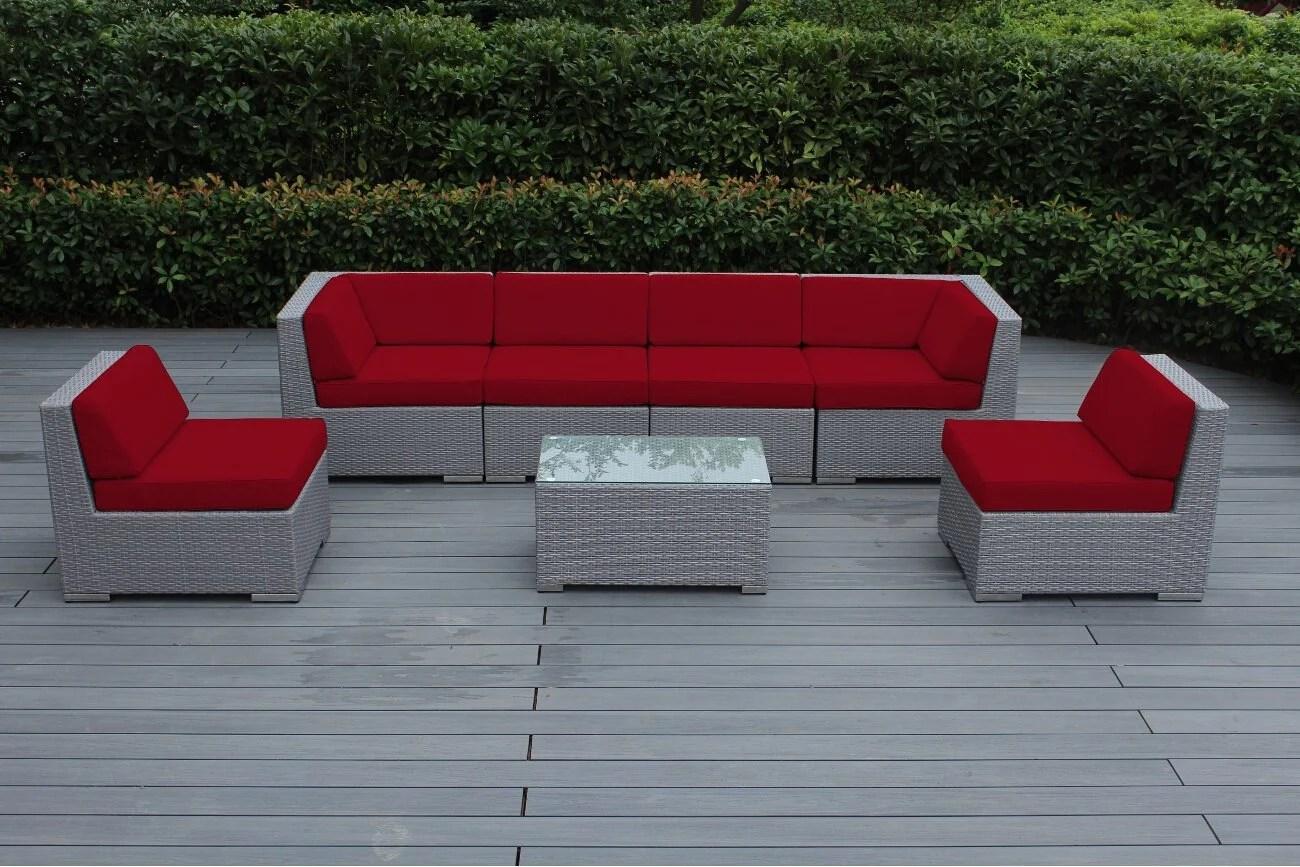 ohana collection pn07037gr pn7037grrd ohana outdoor patio furniture 7 piece gray wicker sectional con red