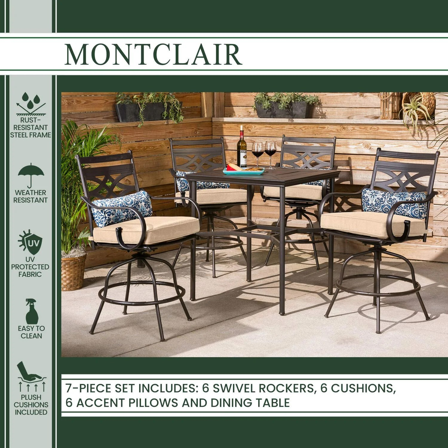 hanover montclair 7 piece all weather outdoor patio dining set 6 swivel rocker chairs with comfortable tan seat and lumbar cushions 40 x66 stamped