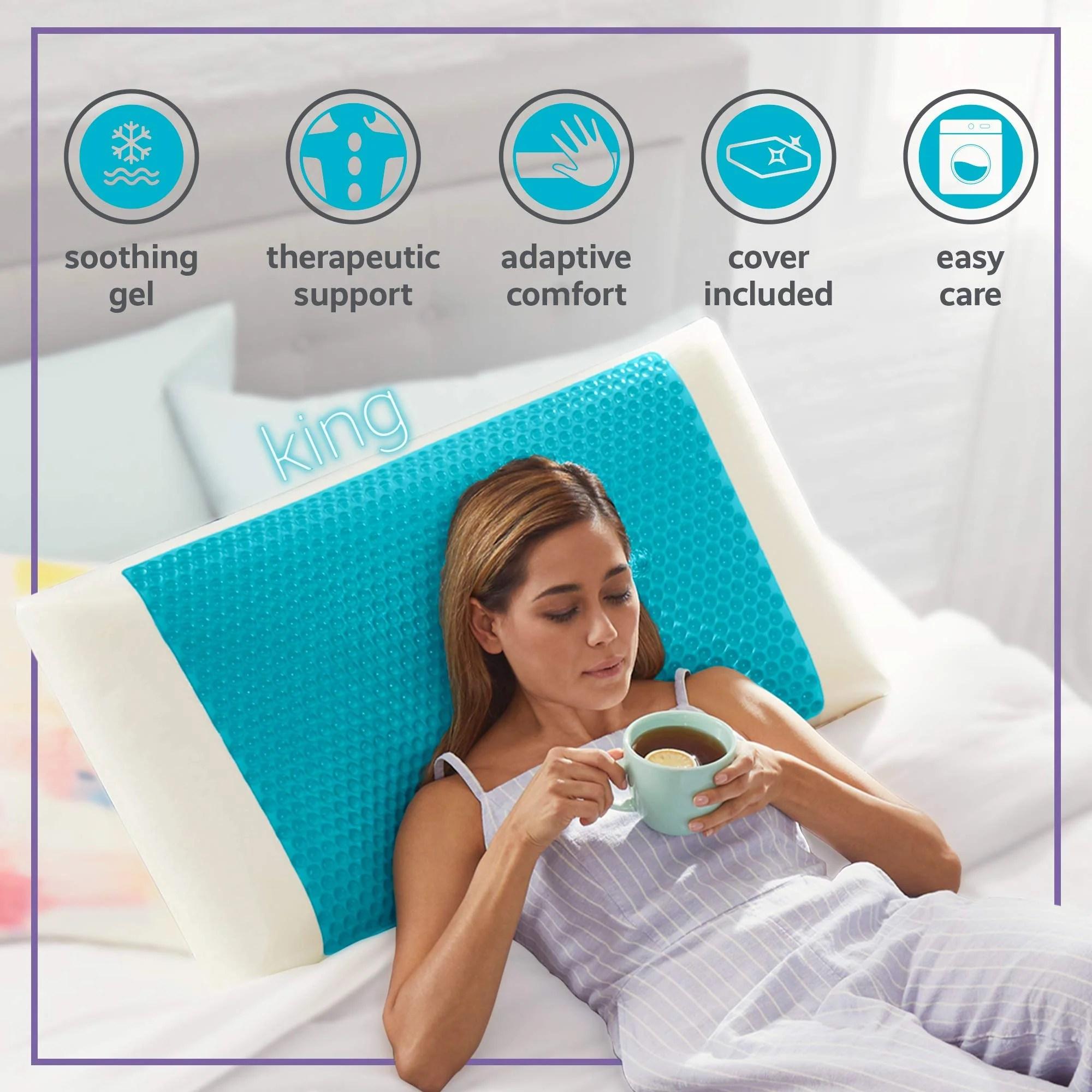 comfort revolution blue bubble gel memory foam pillow king white