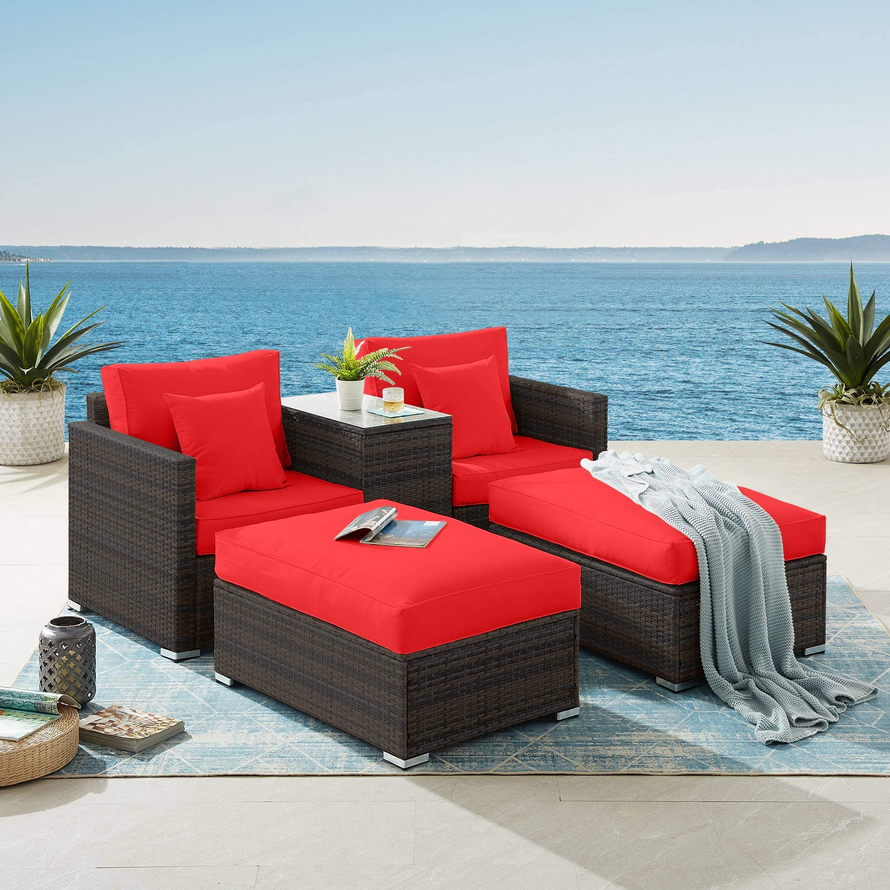 tribesigns 5 pieces patio furniture set outdoor patio lounge chair ottoman set with storage table cushions pe rattan wicker sectional conversation