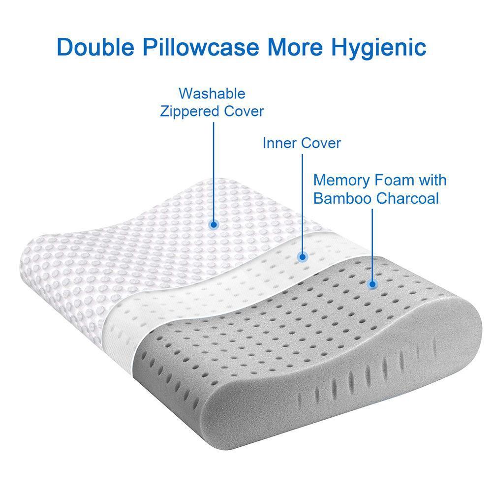 milemont memory foam pillow bamboo charcoal orthopedic contour pillow