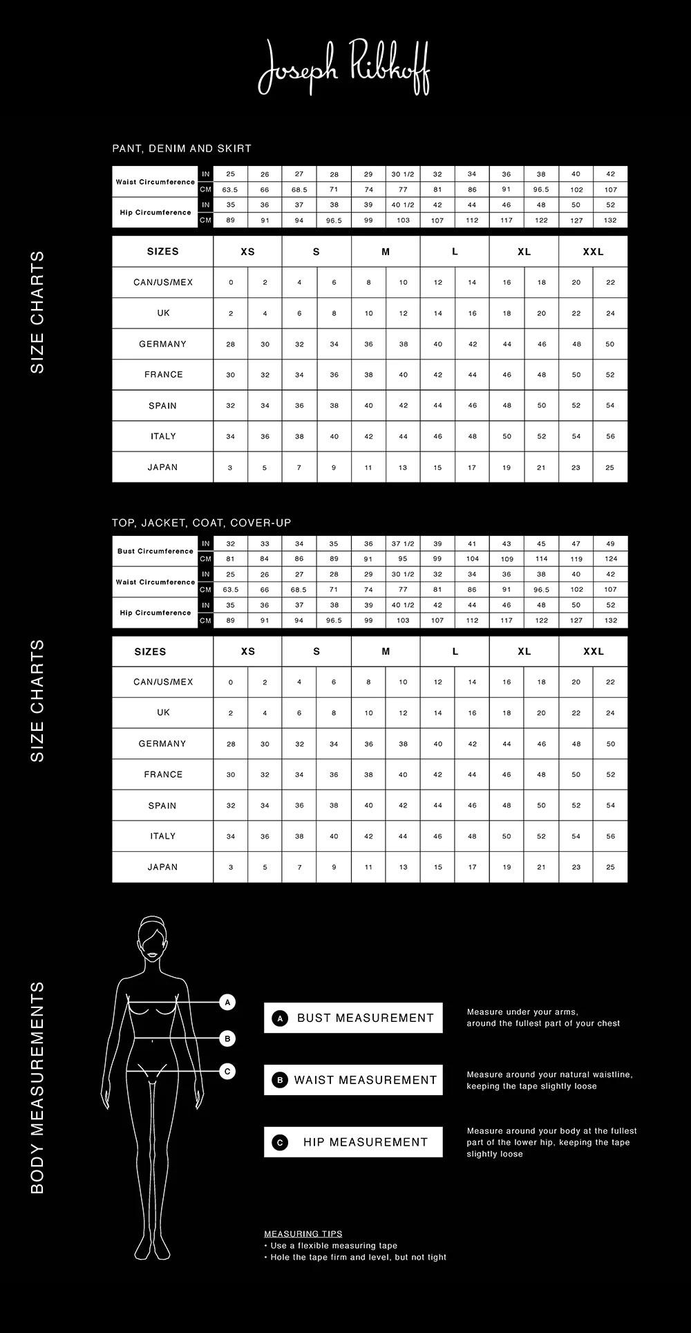 Size view chart also joseph ribkoff  classic boutique rh classicboutique