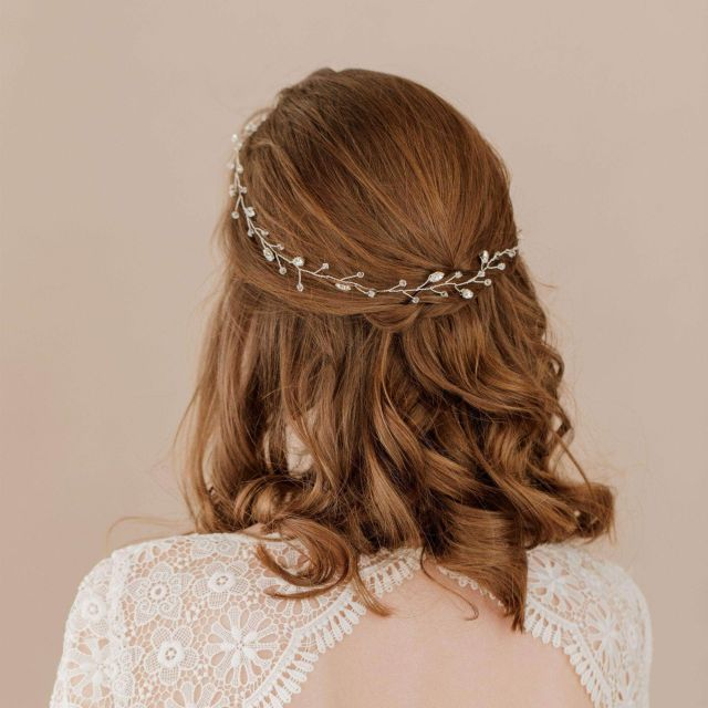 silver floral multipiece halo - 'jaime'