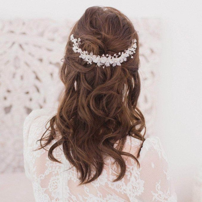 wedding hair comb with floral crystals - 'titania'