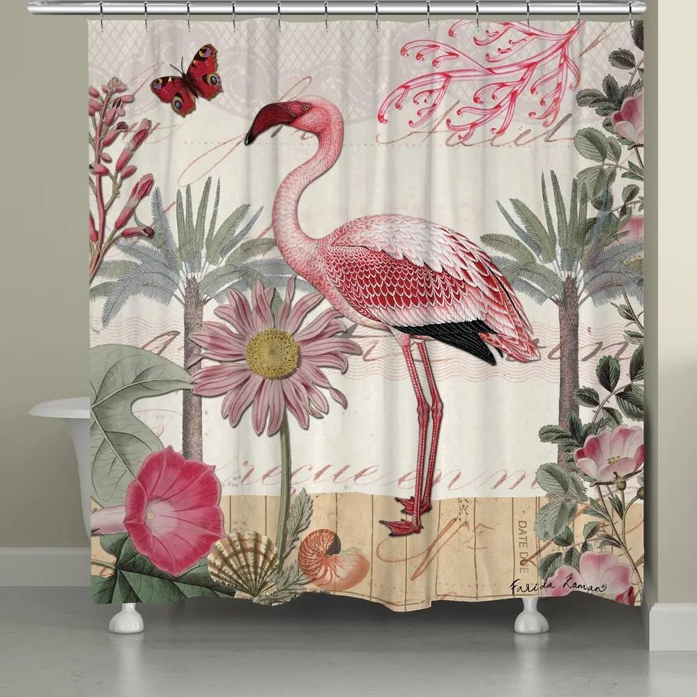 botanical flamingo shower curtain