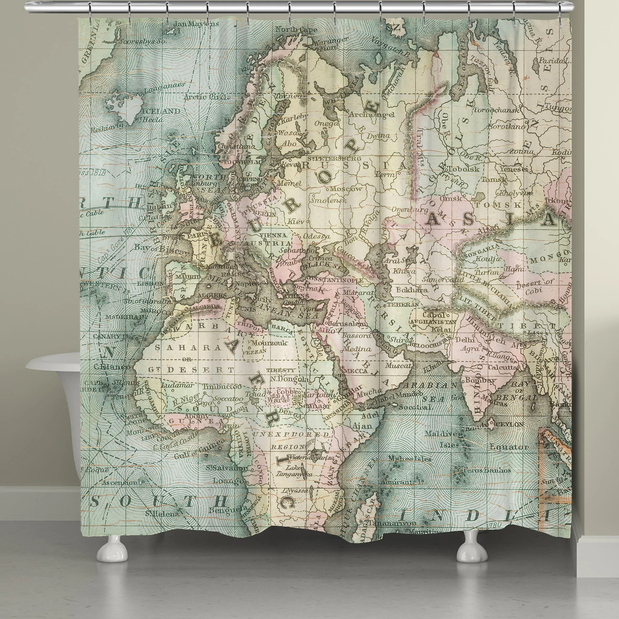 https lauralhome com products world map shower curtain