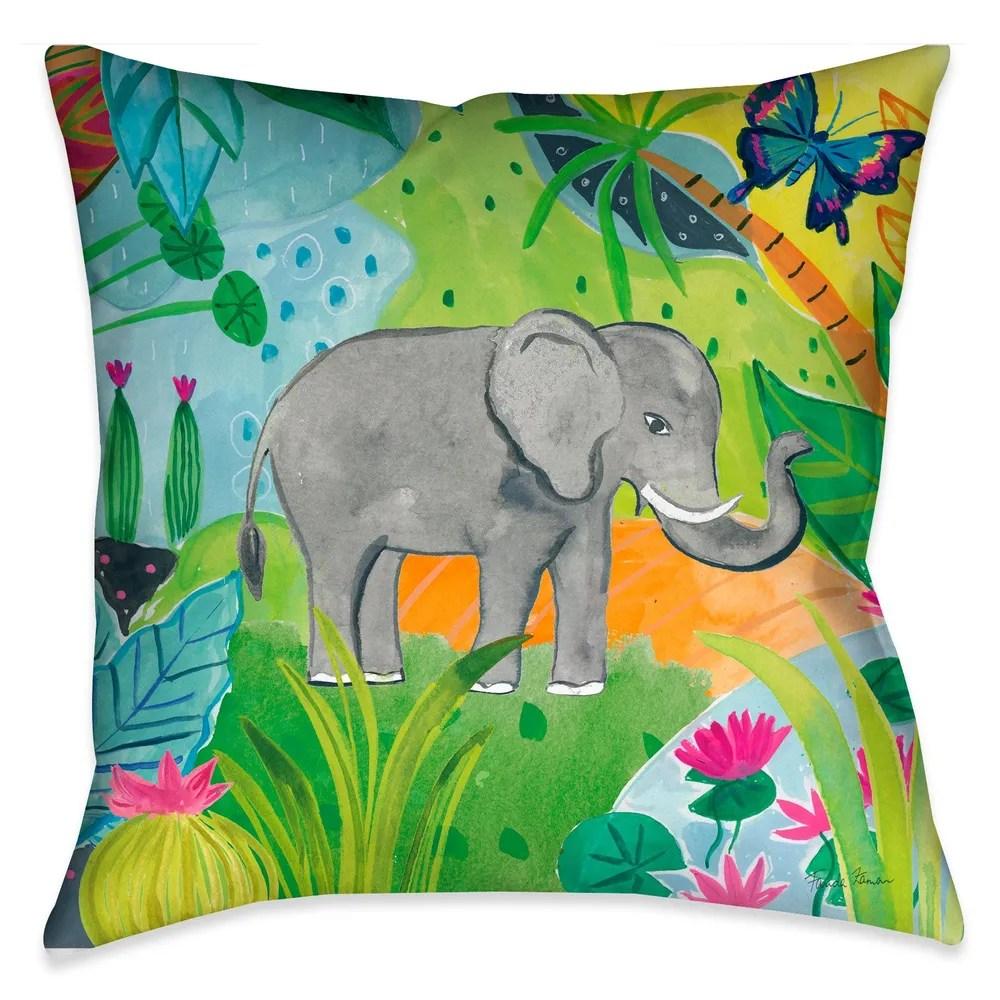 jungle elephant indoor decorative pillow