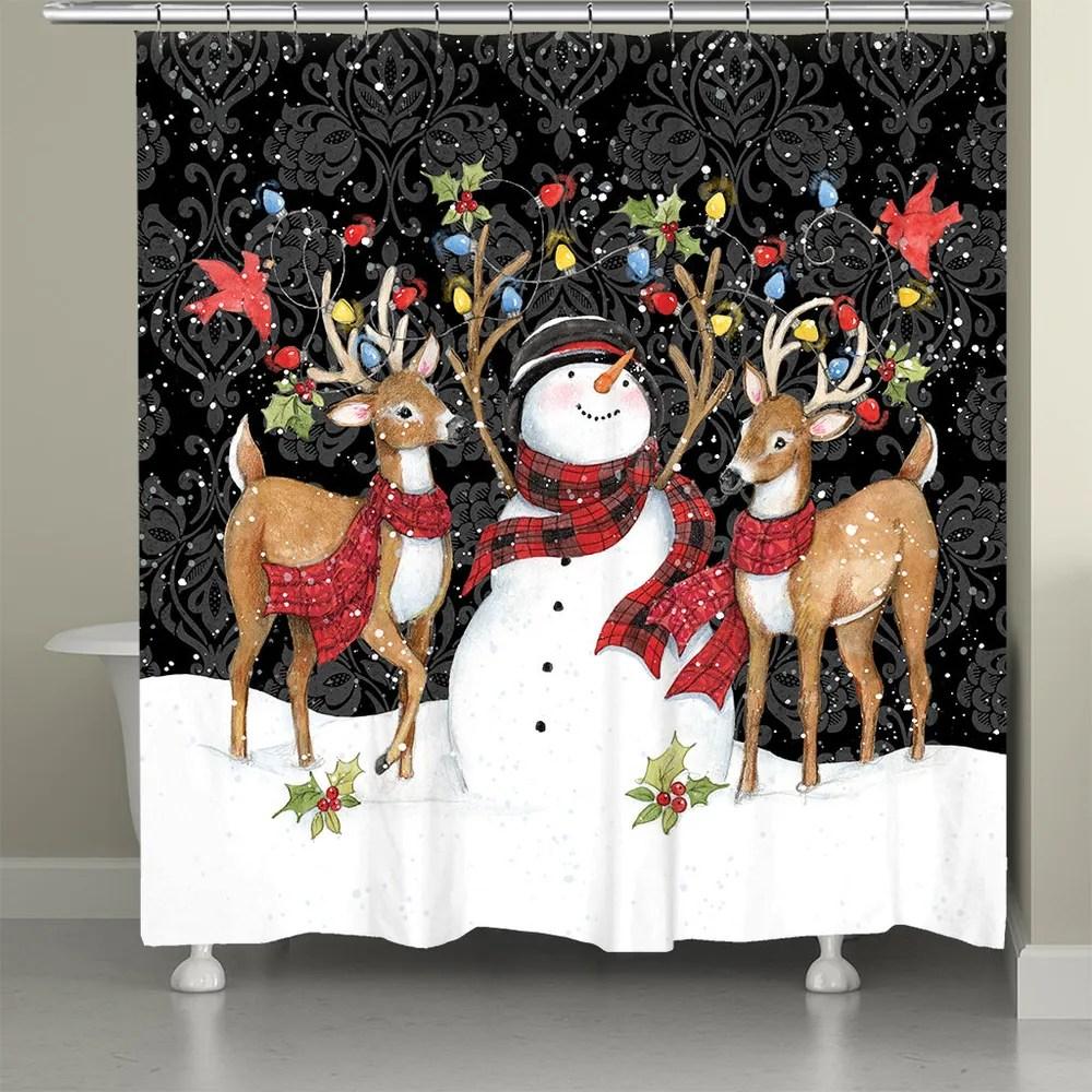 modern day christmas shower curtain