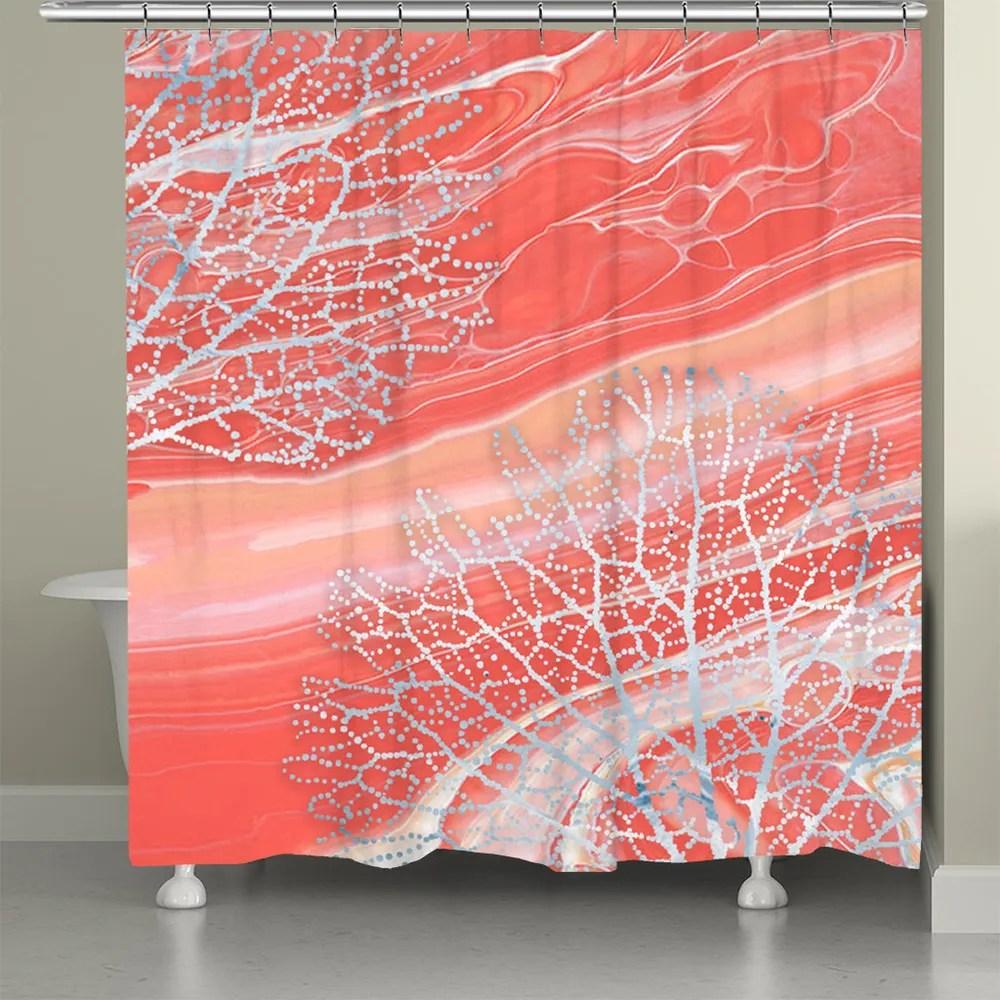 serene coral shower curtain