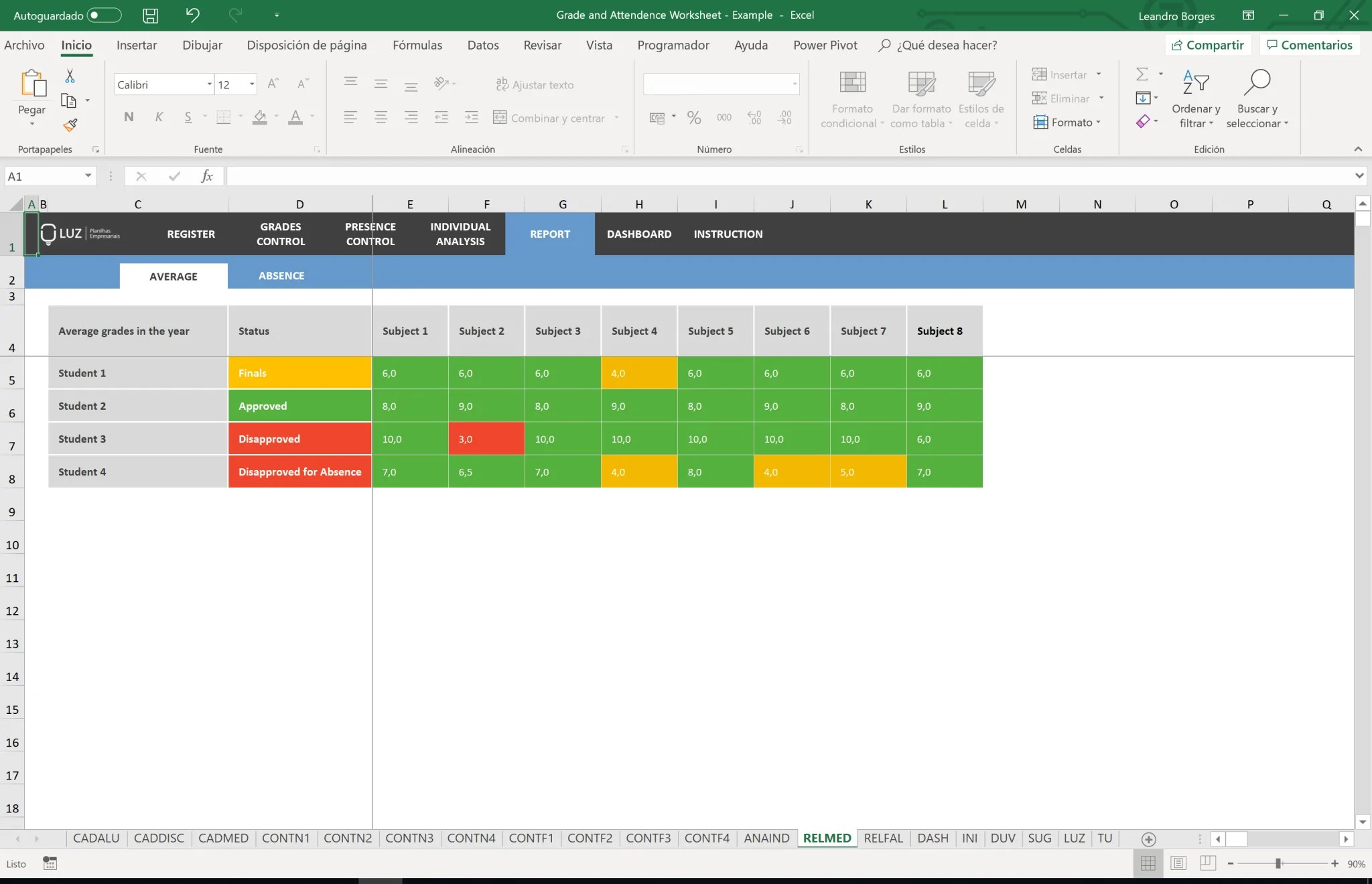 small resolution of Grades and Attendance Excel Worksheet for Schools - LUZ Templates