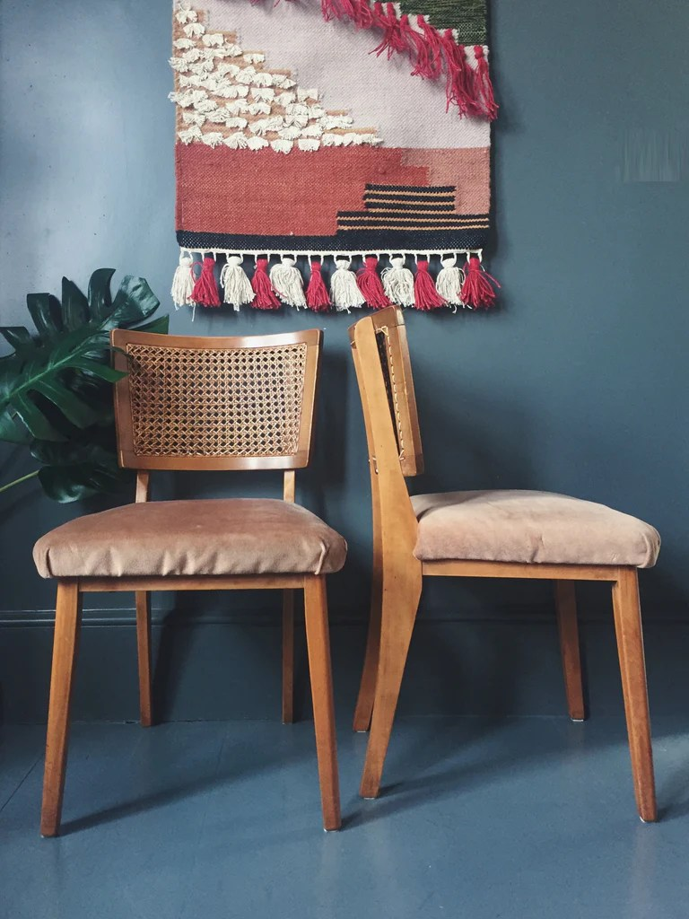 bentwood cane seat chairs vintage chair styles set of 4 woven & salmon pink upholstered dining – homeplace