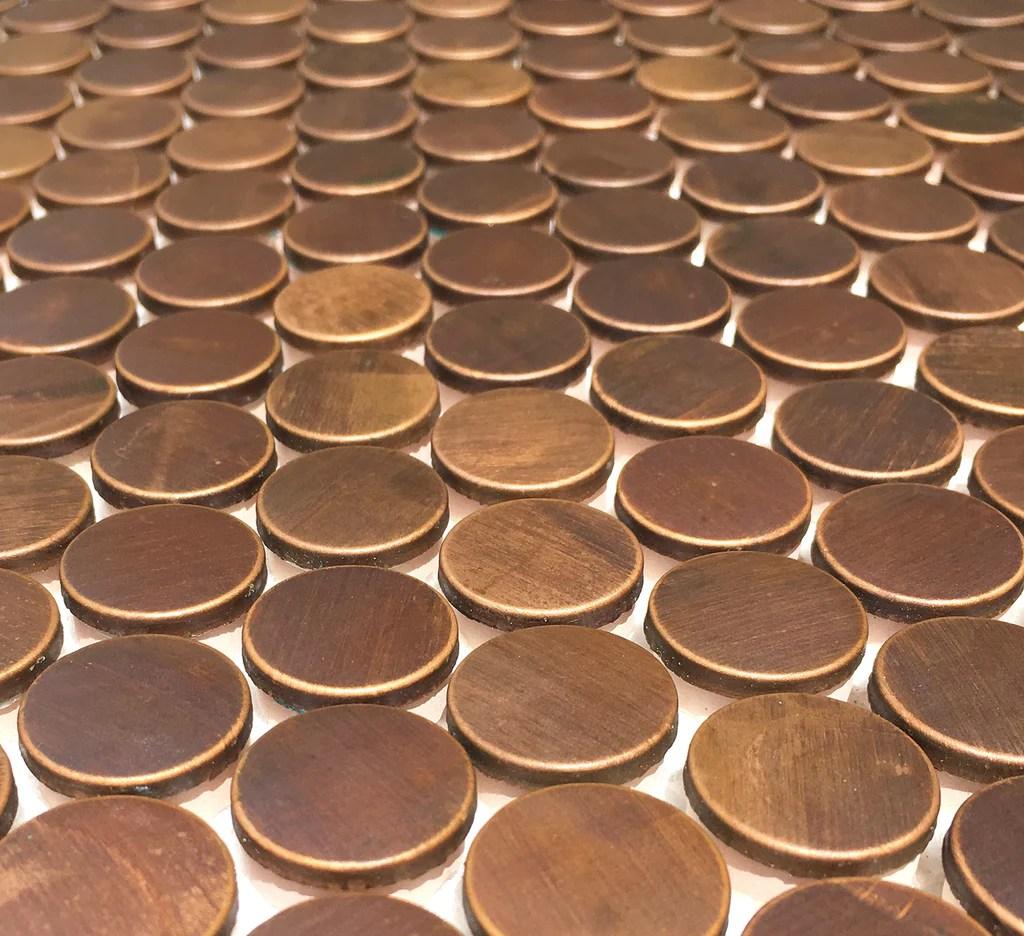 penny round antique copper mosaic tile