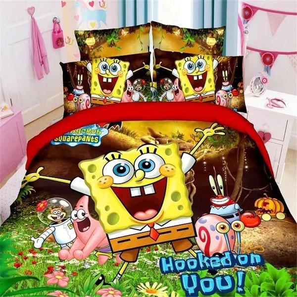 new 3d spongebob boys twin single size bedding set of duvet cover bed sheet pillow case 2 3pcs bed linen set blue for children
