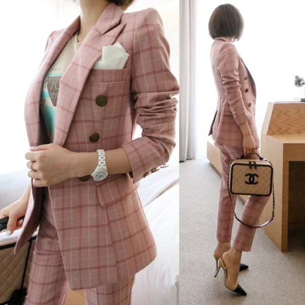 New Female High Quality Business Attire Blazers Suit Plaid Women Pants Borizcustom