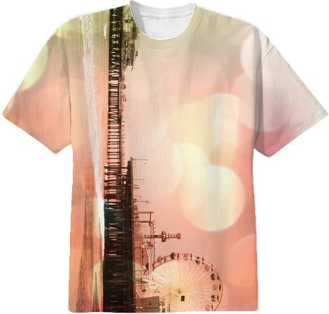 Santa Monica Pier Sparkling Pink Photo Edit T-Shirt  $38.00 By stine1