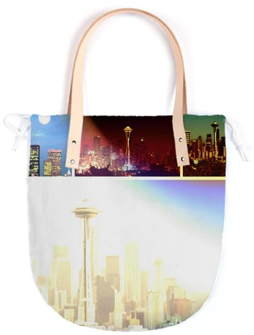 Funky Seattle Space Needle Collage Summer Tote By stine1