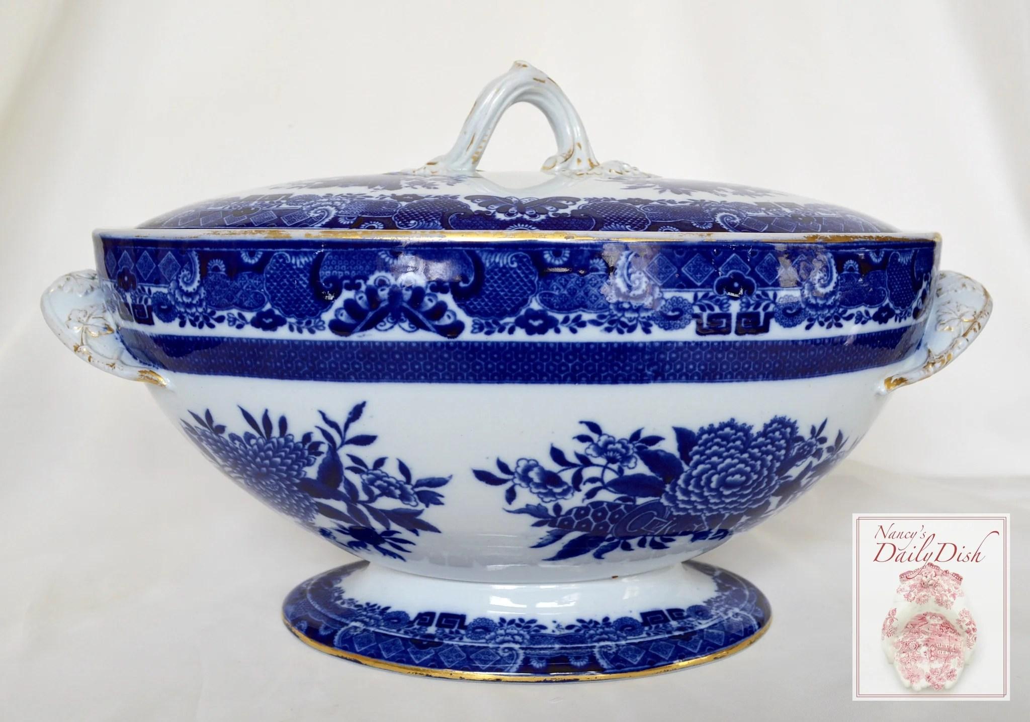 Antique Flow Blue Chinoiserie Copeland Spode Transferware
