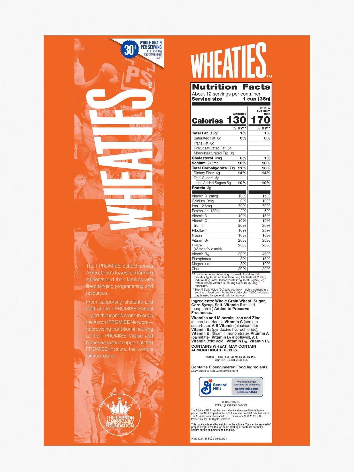 Wheaties Nutrition Facts : wheaties, nutrition, facts, LeBron, James, PROMISE, Wheaties