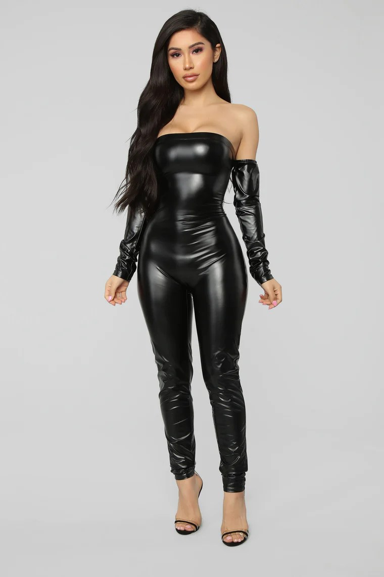 soothe faux leather jumpsuit