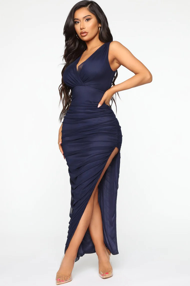 After Party Invite Ruched Midi Dress - Navy 11