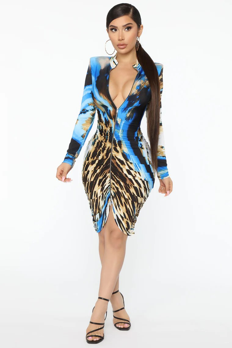 Wild Lover Ruched Midi Dress - Blue/combo 3