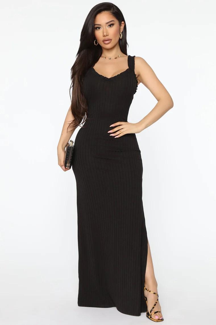 Spontaneous Day Ribbed Maxi Dress - Black 2