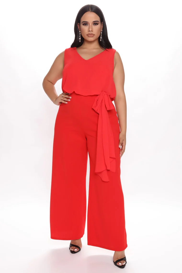 Straight Forward Business Jumpsuit - Red 2