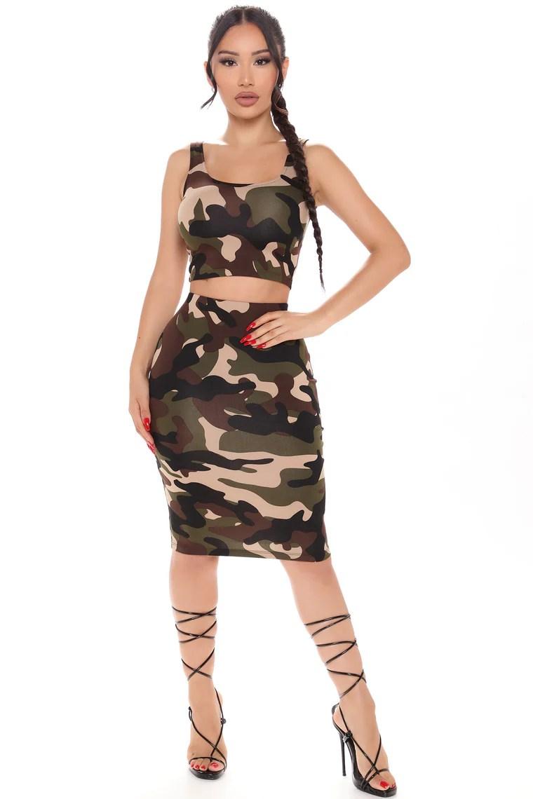 It's A Bratty Night Midi Skirt Set - Camouflage 4