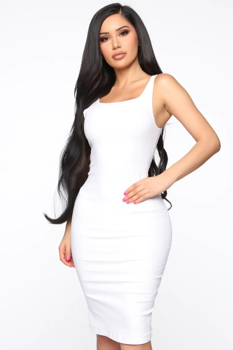 Calling My Phone Denim Midi Dress - White 4
