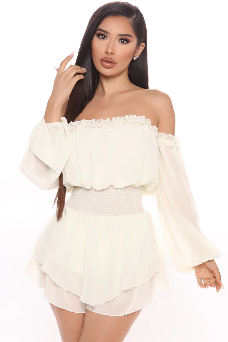 Windy City Off Shoulder Romper - Ivory 10