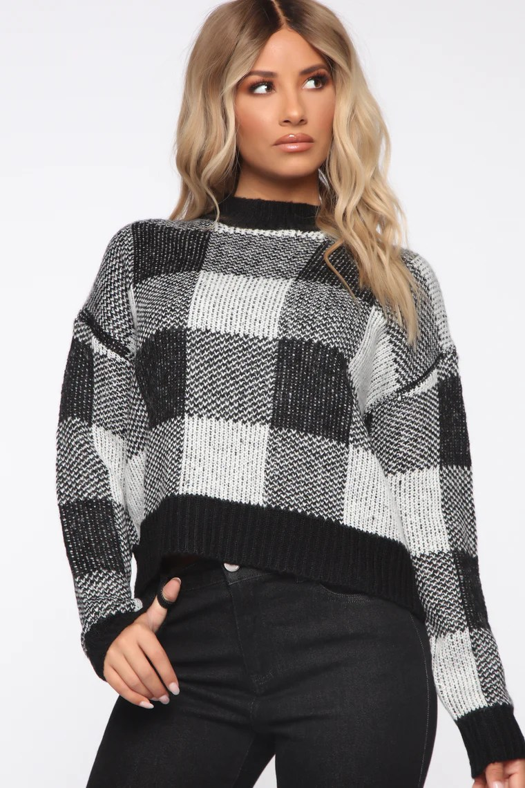 Plaid Around Sweater - White/Black 10