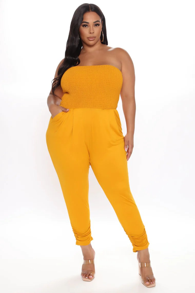Jane Smocked Jumpsuit - Mustard 8