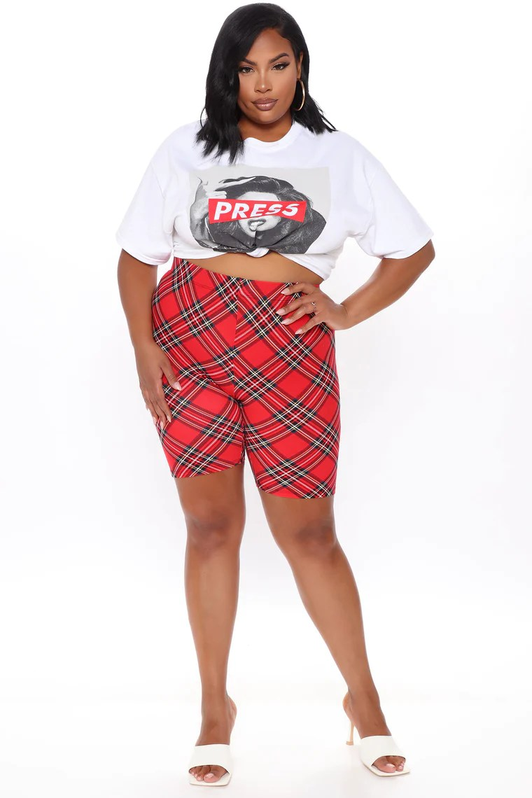 Plaid Yourself Biker Short - Red/combo 13