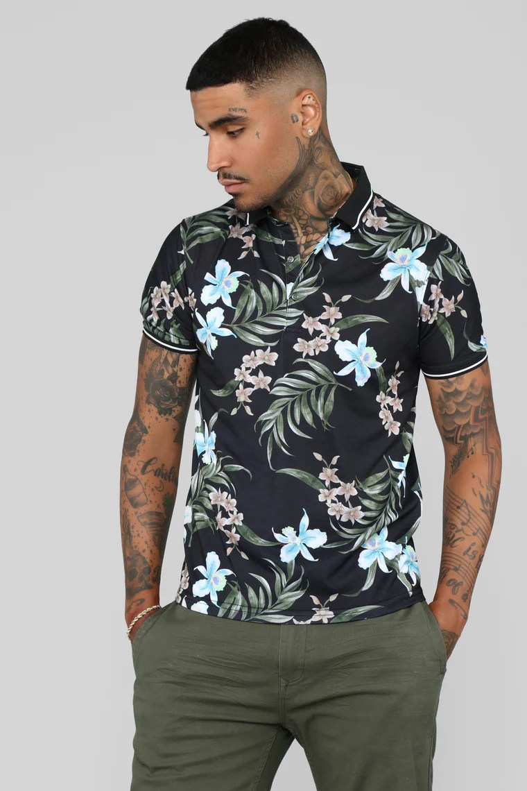 FASHION NOVA MEN - Inflorescence Short Sleeve Polo