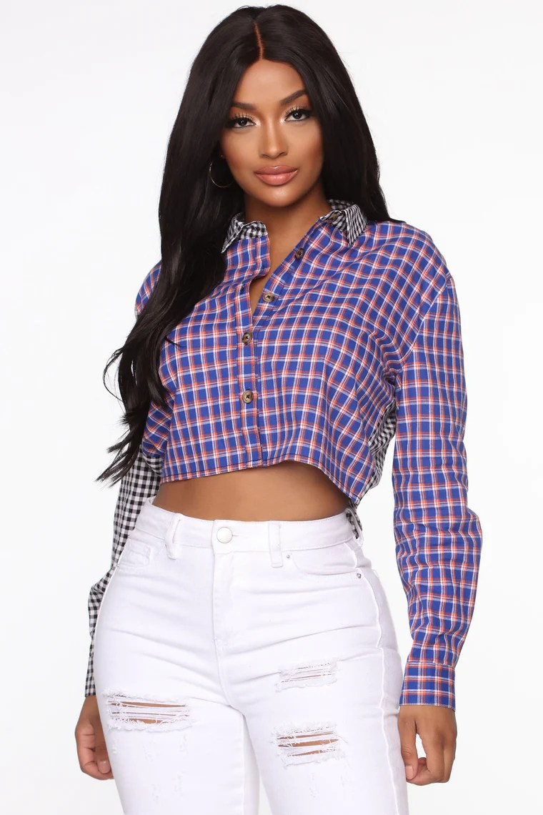 Anything Goes Plaid Top - Multi Color 2