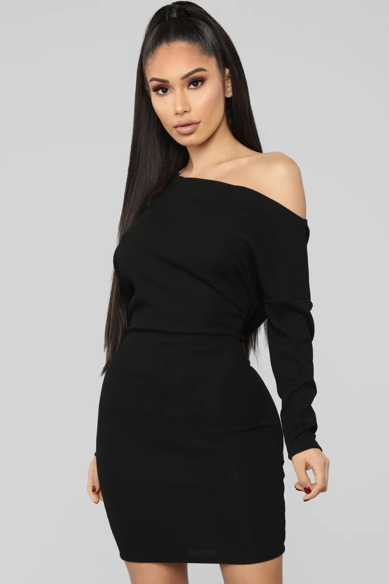 Keeping You Close Sweater Mini Dress - Black 10