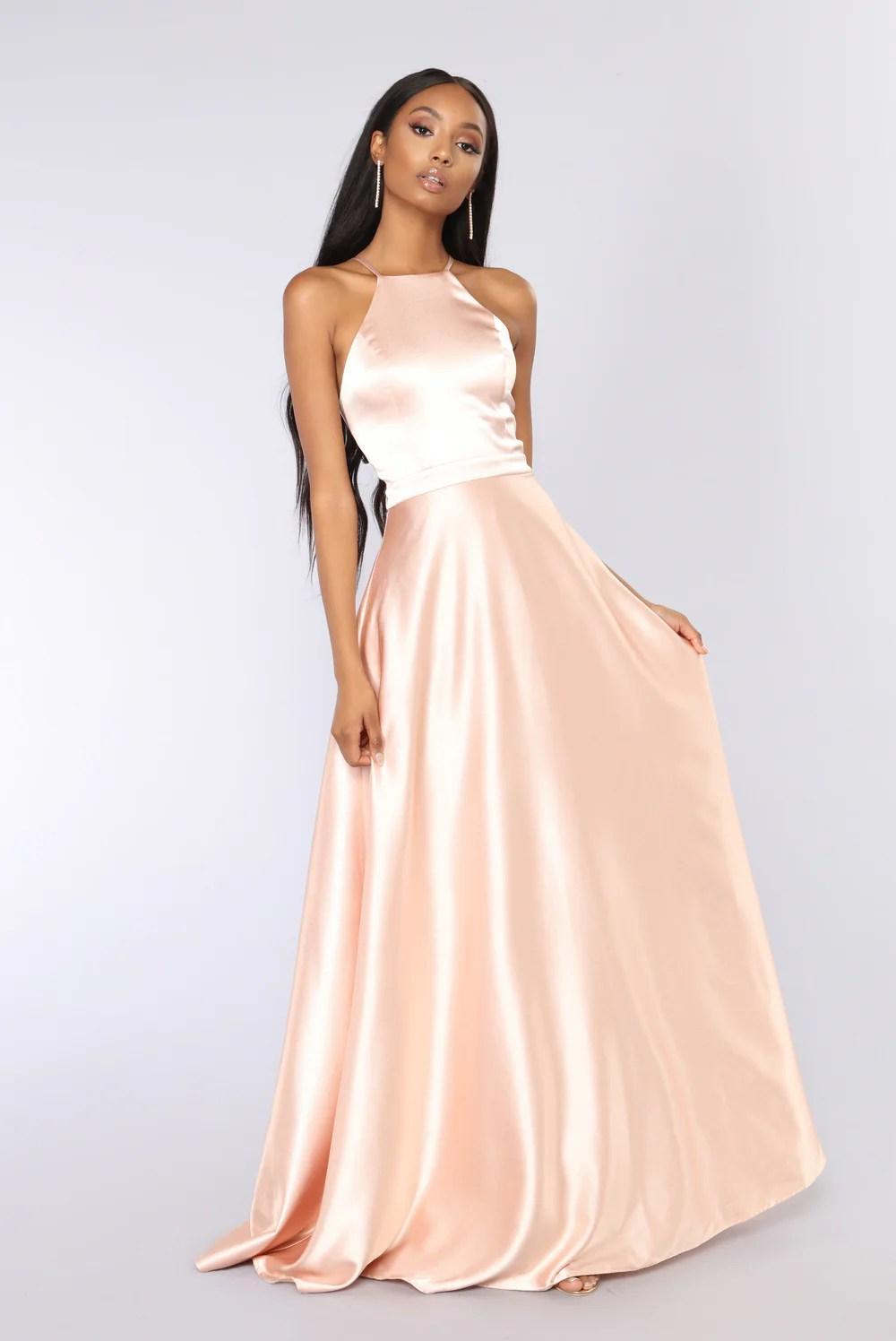 Fascinating Rose Gold Satin Dress