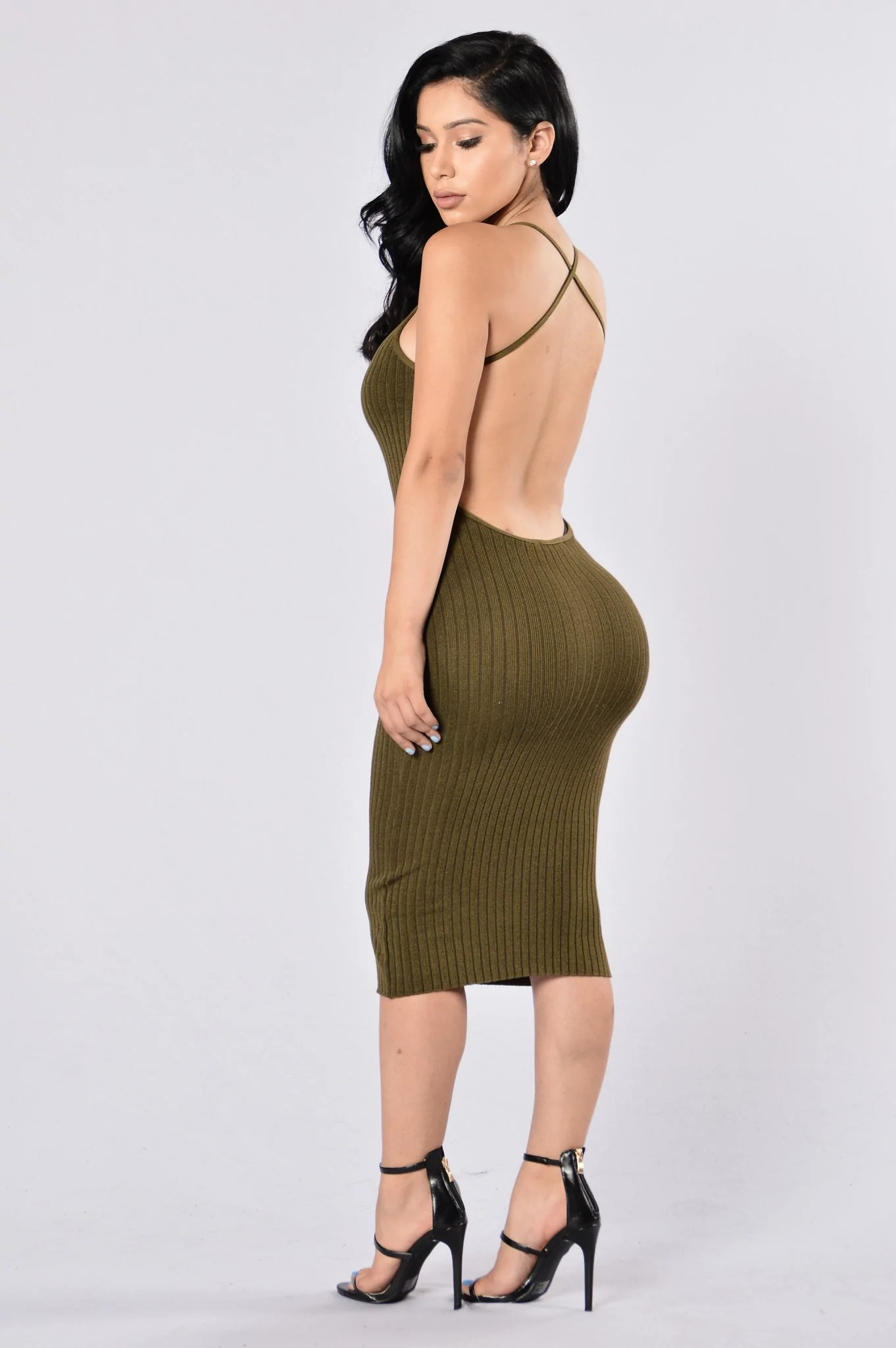 Turn Around Dress  Olive