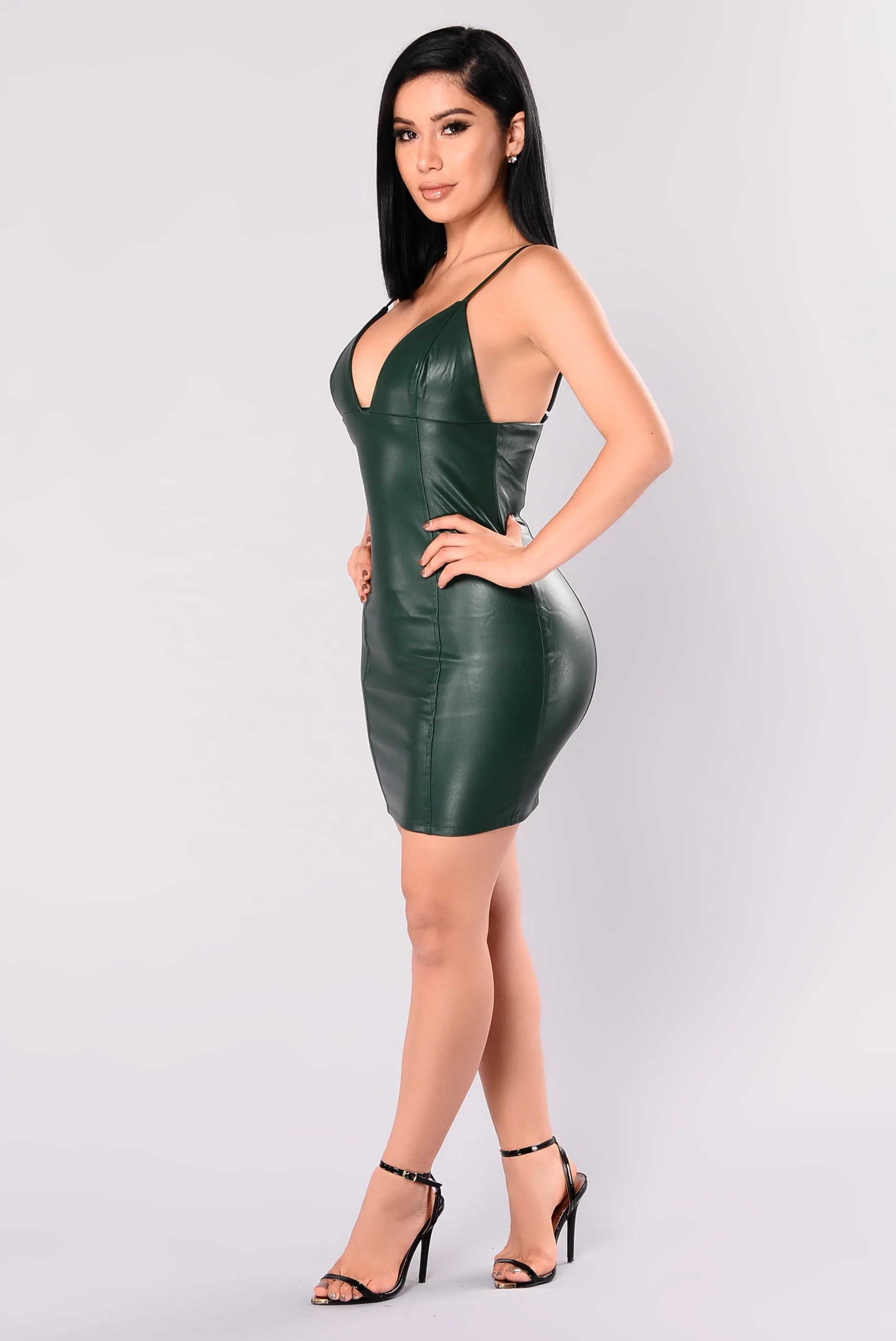 Midnight Rider Faux Leather Dress - Green