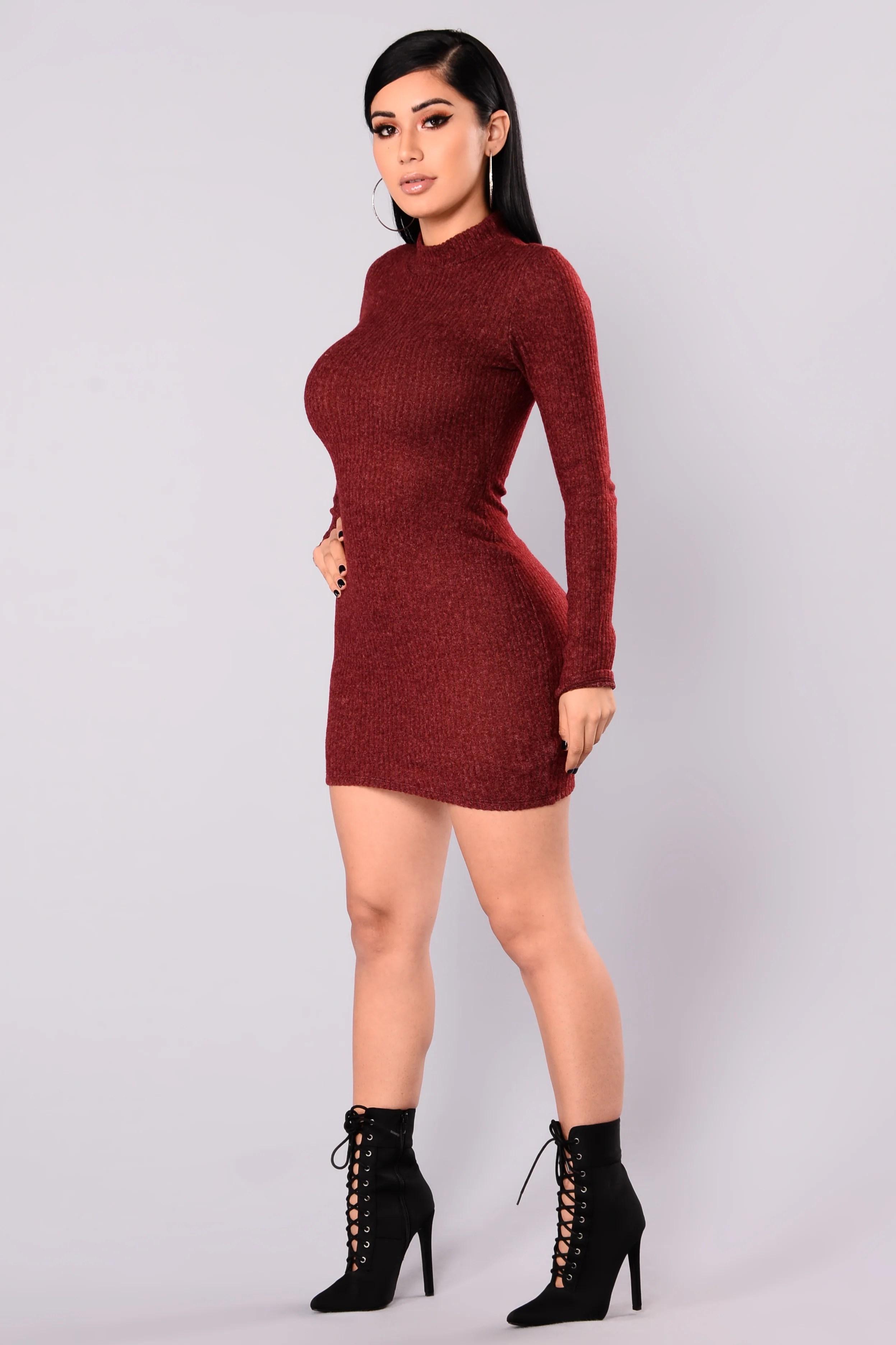 Soft Side Sweater Dress - Burgundy