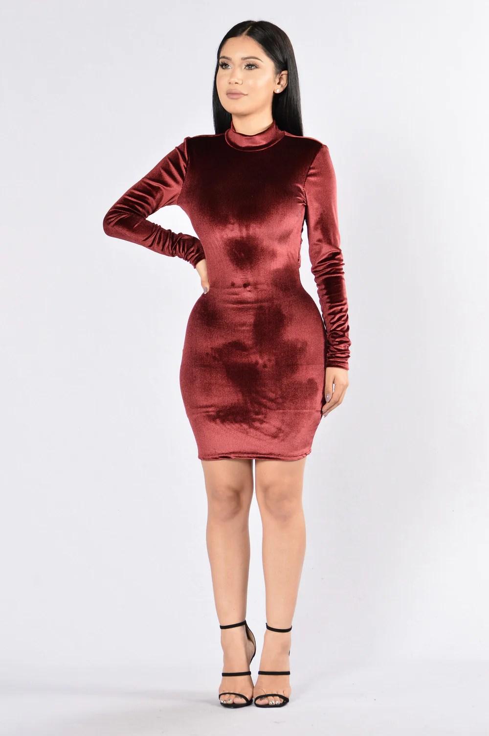 Burgundy Velvet Dress Fashion Nova