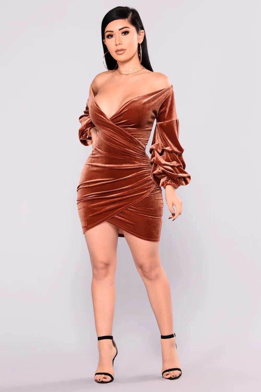 Rust Velvet Dress