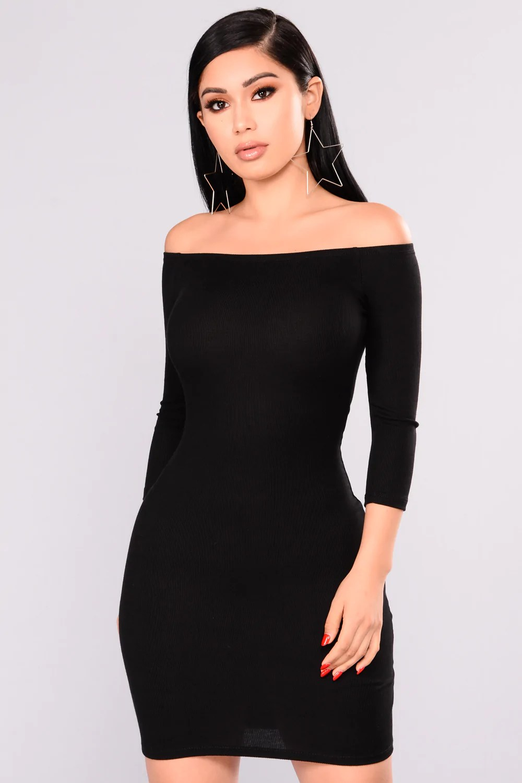 Lorraine Shoulder Dress - Black