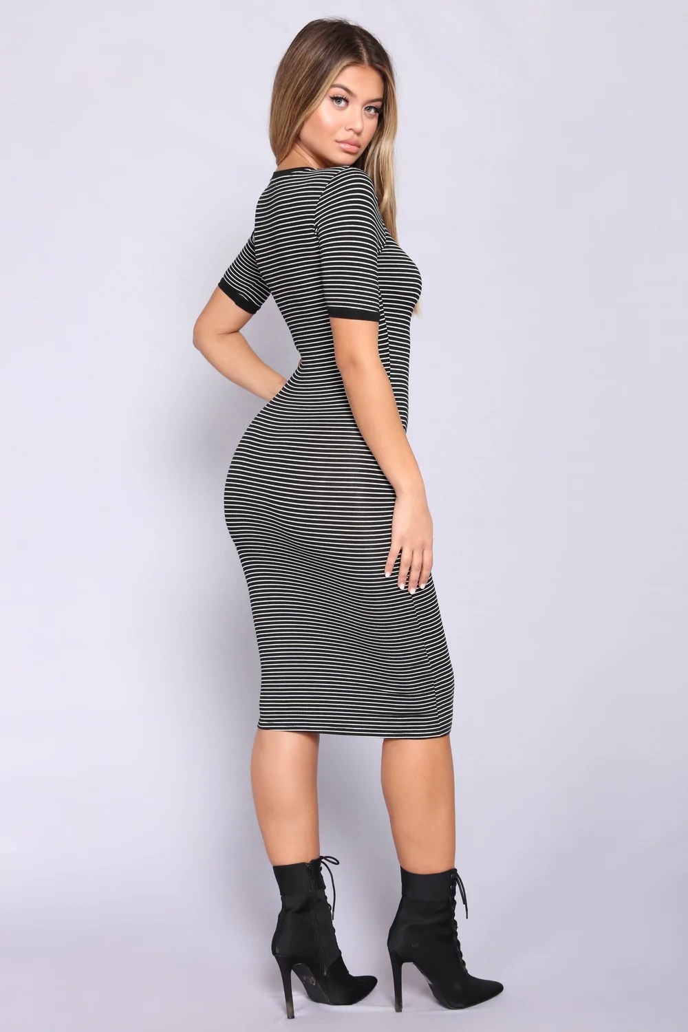 Girl Striped Dress - Black White