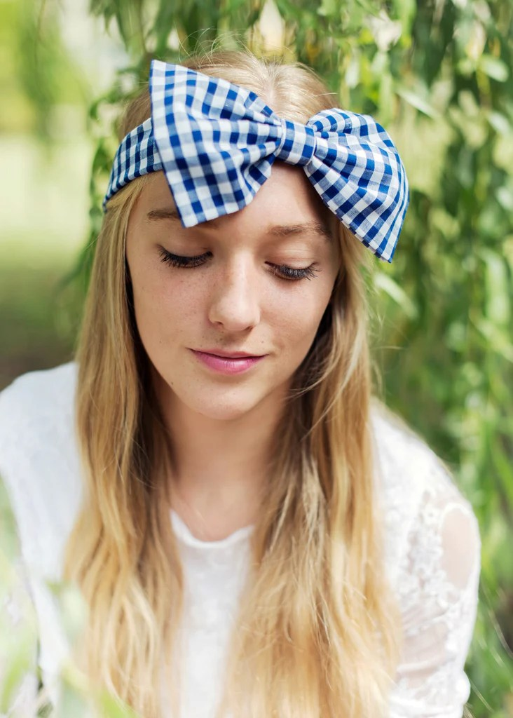 oversized gingham fabric bow headband