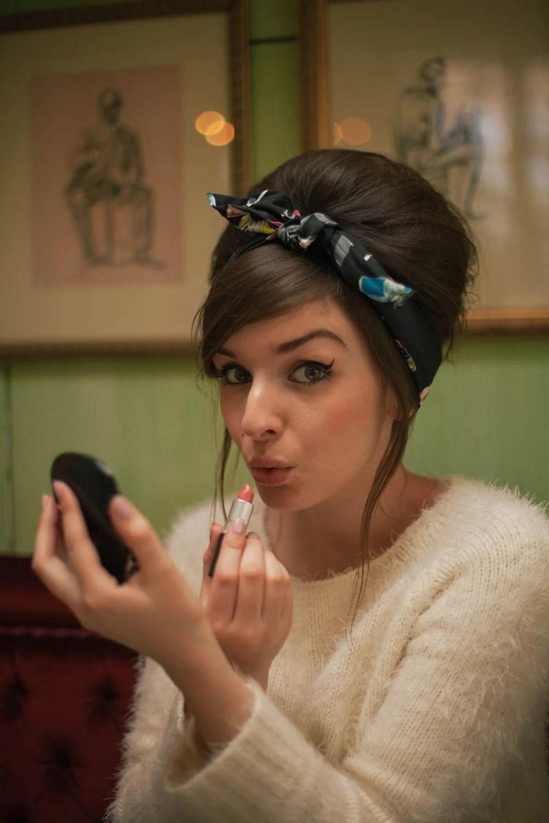 cosmetics print hair scarf girly