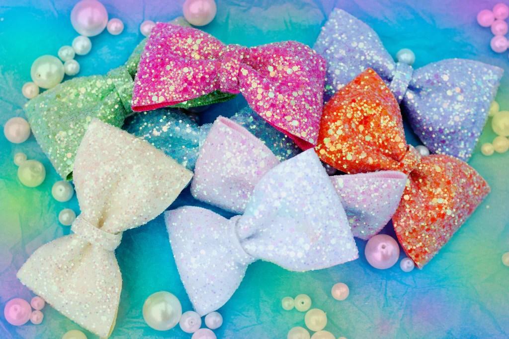pastel glitter hair bows