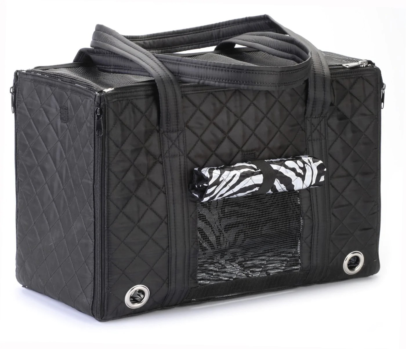 Sherpa Leopard Zebra Lined Park Dog Carrier - Pet Tote